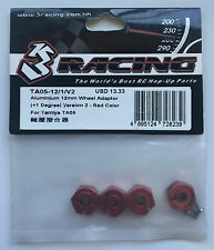 3Racing #TA05-12/1/V2 Aluminum 12mm Wheel Adaptor +1 Deg Red For Tamiya TA05 NIP