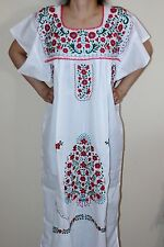 Medium White Peasant Tunic Boho Hippie Hand Embroidered Mexican Dress Tunic