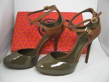 Size 7.5 M NEW TORY BURCH LOLITA brown/ gray/ almond heel pumps Shoes $375