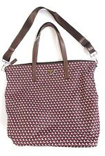 New PRADA Brown Pink Nylon Print Shopper Tote Handbag