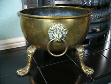 Large Heavy Antique Brass Planter - Lion Head Handles & Lion Paw Feet