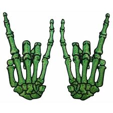 Green Skeleton Hands Horns Sign Rock Metal Kreepsville Embroidered Iron On Patch