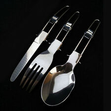 Stainless Steel Folding Spoon, Fork, Cutlery Set With Pouch Camping Set Portable