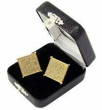 Men's Hip Hop Iced Out Large Square Flat Screen Block Screw Back Stud Earring