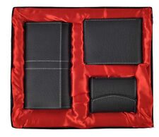 SET OF 3 BLACK SOFT LEATHER MEN/GENTS WALLET + WOMEN/LADIES WALLET + CARD HOLDER