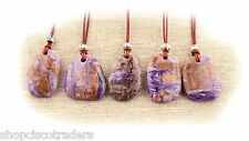 CHAROITE ARTISAN Pendant Necklace A056-3 Leather Cord Easy On Peace