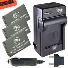 BM NPBX1 3X Batteries & Charger for Sony CyberShot HDR-CX240,CX405,CX440,PJ275