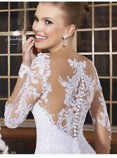 UK 2016 White/Ivory Lace Long sleeve Wedding Dress Bridal Gown Custom Made