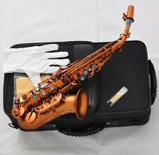 Prof Matte Coffee Soprano Saxophone Bb Curved sax High F# Abalone Shell Key New