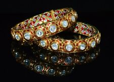 ESTATE MOGHUL ENAMEL 22K 18K SOLID GOLD HUGE DIAMOND FLORAL CUFF BANGLE BRACELET