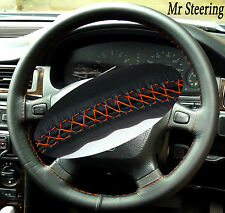 FITS LAND ROVER FREELANDER 97-06 REAL LEATHER STEERING WHEEL COVER ORANGE STITCH