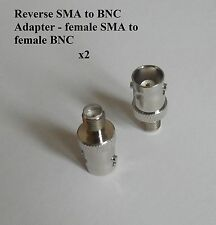 2x Reverse SMA to BNC Adapters - female SMA to female BNC