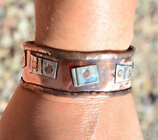 Distressed Scrap Metal Man Sterling Silver 925 Copper Cuff Bracelet Rustic Mens