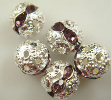 8mm 5pcs Czech champagne Crystal Rhinestone Silver Rondelle Spacer Beads w1v