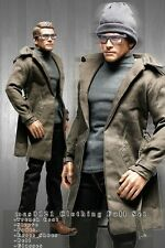 mcs0121 Brown Grey Clothing Set Trench Coat+Sleeve+Pants+Belt for 1/6 Figure