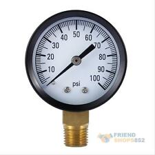 """Lead Free Well Pump Water Pressure Gauge Side 1/4"""" Inch Pipe Thread 0-100 PSI"""