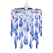 Modern Blue & Clear Acrylic Crystal Ceiling Light Chandelier Lamp Shade Lights