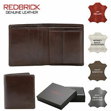 REDBRICK LONDON MENS LUXURY GENUINE LEATHER BROWN WALLET CREDIT CARD COIN POCKET