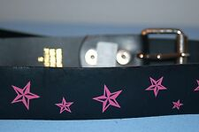 "Pink Stars Punky Black Girls BELT Size Small NWT 36"" Rock Hippy Brand New Cool"