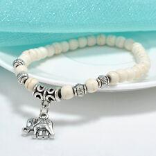 Fashion Tibet silver elephant Pendant White turquoise beads 6mm Elastic bracelet