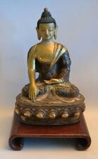 Vintage 1920s Chinese Bronze Buddha with Inlay Decorations on Wooden Stand