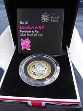 2012 Silver Proof Rio Olympic Handover Two Pound Coin £2, Boxed with CoA, Rare
