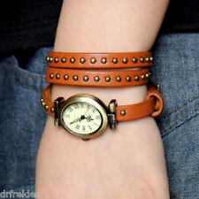 MIP Genuine Brown Leather Band Retro Rivet Belt Women's Wrist Watch