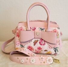 Betsey Johnson Floral Blush Cream Triple Compartment Satchel Crossbody Bag  NWT