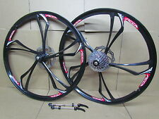 "26"" MTB Mountain Bike Bicycle Magnesium Alloy Wheel Set 9 Speed Disc Brake Rotor"