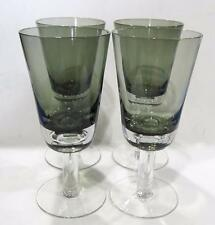 Set of 4 Denby Drama Smoke Bowl Clear Stem With Bubble Modernist Water Goblets