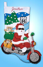 Felt Embroidery Kit Design Works Route 66 Santa Motorcyce XMAS Stocking #DW5002