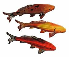 Unique Hand-crafted 3D Metal Wall RefraXions Sculpture SET OF 3 MULTI - KOI FISH
