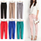 Fashion Women Casual Drawstring Elastic Waist Chiffon Harem Comfy Pants Trousers
