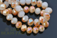 50pcs 8X6mm Rondelle Faceted Crystal Glass Spacer Beads Jade White Half Wine Red