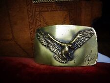 """Vintage Eagle Buckle signed """"Nap"""" Great American Buckle Company Chicago 1978"""
