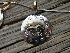 """Sterling silver and 12 kgf 1 1/4"""" long arrow bear pendant  free 18"""" cobra chain"""