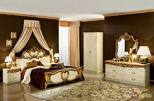 Classic Style Barocco Ivory & Gold Italian Leather Traditional Queen Bedroom Set