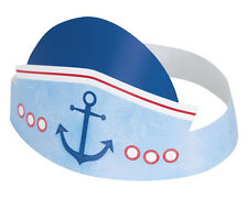 1st BIRTHDAY NAUTICAL PAPER HATS (6) ~ First Party Supplies Favors Whales Beach