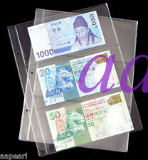10pcs Currency Sleeves Holders 3 pockets 8.5*17.5cm for paper money banknotes