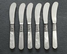 MERIDEN CUTLERY 1855 STERLING SILVER & MOTHER OF PEARL HANDLE CHEESE PATE KNIVES