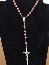 Dusky Pink Wooden Rosary with John Paul II style crucifix