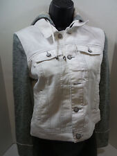 Black Rivet Womens Button Fashion Jacket Distressed White US Size S NWT