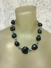 High End Hawaiian Kukui Nut Necklace Dark Brown/Turquoise/Silver Beads  20""