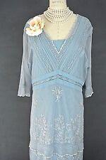 Nataya Dress Sale 1X Plus size Blue Lace Downton abbey Formal Victorian dresses