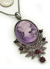 Purple Lady Cameo Crystal Rhinestone Necklace Pendant a