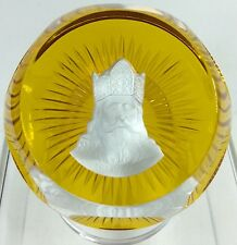 Charlemagne Paperweight Baccarat France Sulphide Cameo 1977 Amber Clear Glass