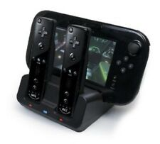 Negro Dual Docking Station + 2 Baterías + Cable Para Wii & Wii U Remote Gamepad