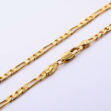Vintage Solid 24K Yellow Gold Filled Link Chain Long Necklace Hot