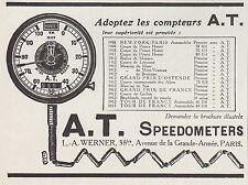 PUBLICITE  COMPTEUR A.T.  AT COMPTE TOURS  ACCESSOIRES  AUTOMOBILE AD  1913 -7G