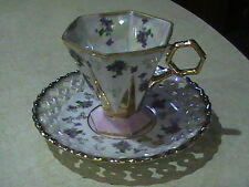 Royal Sealy China Footed Paneled Lustre Ware Cup & Saucer Violets,Pink,Gold Trim